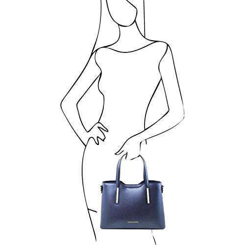 Tuscany Leather Olimpia Bolso Shopping en piel Ruga metallic - Misura pequeña Azul oscuro Bolsos con asas Azul oscuro
