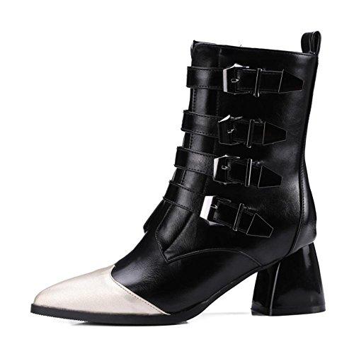 NVXIE Women's Ankle Short Leather Boots Locomotive Winter Pointed Toe Black Chunky High Heel Belt Buckle Gray Large Size 42 BLACK-EUR40UK7 0T6Jl