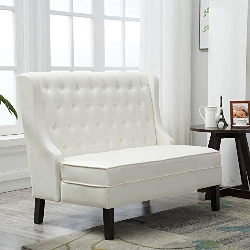Modern Loveseat Settee Button Tufted Sofa Couch Upholstered Banquette Dining Bench Living Room Funiture