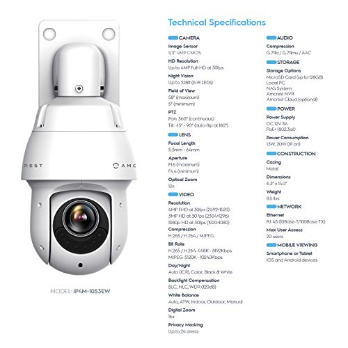 Amcrest 4MP Outdoor PTZ POE + IP Camera Pan Tilt Zoom (Optical 12x Motorized) UltraHD POE+ Camera Security Speed Dome, CMOS Image Sensor, 328ft Night Vision, POE+ (802.3at) - IP66, 4MP, IP4M-1053EW