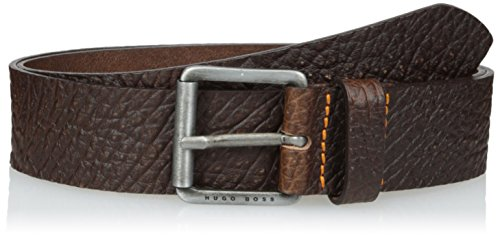 Boss Orange Men's Jobir Italian Embossed Leather Belt, dark brown, (Boss Leather)