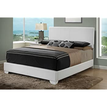 this item white queen size modern headboard leather look upholstered bed 1890 - Full Size White Bed Frame