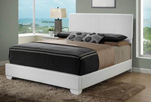 Plank Century - White - Queen Size - Modern Headboard Leather Look Upholstered Bed 1890