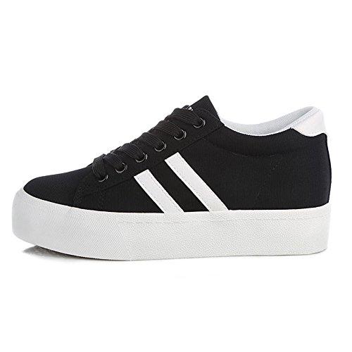 Renben Plate-forme De Base De Base Espadrilles Casual Toile De Mode Baskets Chaussures 8226 Noir