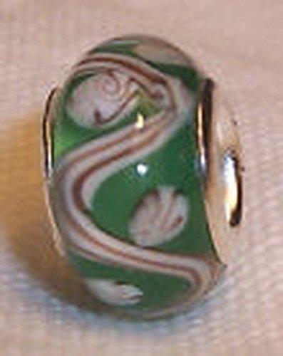 Glamorise Beads #14239 Green Tan White Lampwork Murano Glass Bead for Silver European Charm Bracelets (Lampwork White Charms)