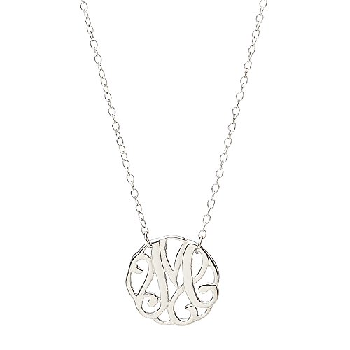 The Silver Heron 'M' Monogram Necklace.925 Sterling Silver, 16