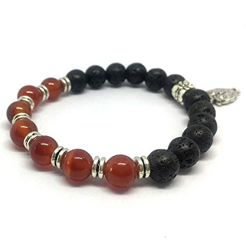 SEY 8mm Lava and Red Agate Diffuser Bracelet Essential Oil Natural Beaded with Birds for Women Girls Gift