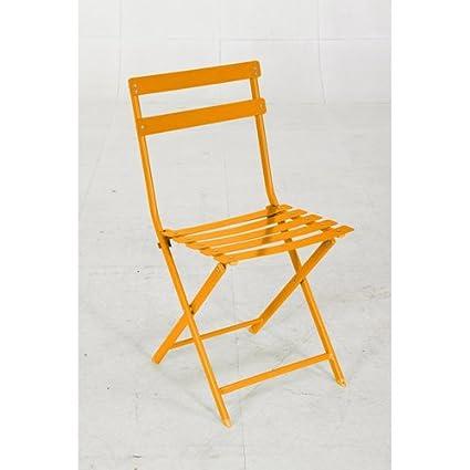 Silla plegable-Mallorca metal, color naranja: Amazon.es: Hogar