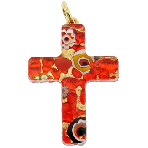 GlassOfVenice Murano Glass Venetian Reflections Cross Pendant - Red Gold - Red Murano Glass Pendant