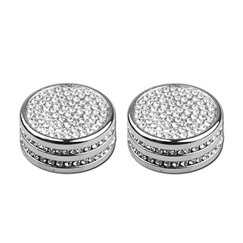 1797 Compatible FM Volume Knob Caps for Porsche Accessories Parts Trim Covers Menu Decals Stickers Bling Interior Inside Decorations Cayenne Macan Panamera 911 718 Crystal Rhinestone Silver 2 Pack