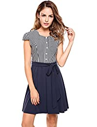 EASTHER Women's Summer O Neck Short Sleeve Casual A-line Swing Midi Dress