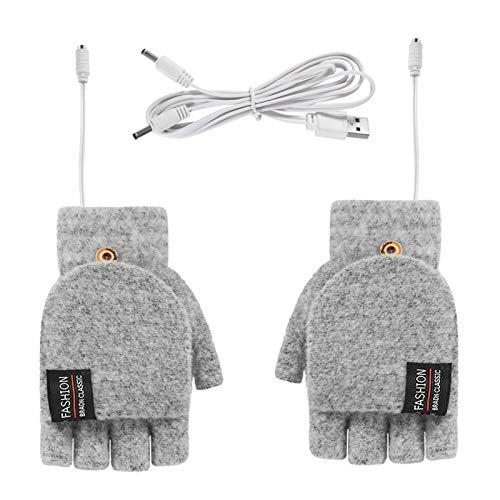 favourall USB Oplaadbare verwarmde handschoenen voor mannen vrouwen, 5V halve vinger gebreide handschoen Handen Warmer…