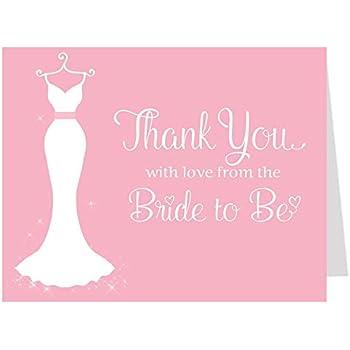 bridal shower thank you cards wedding dress wedding shower pink gray