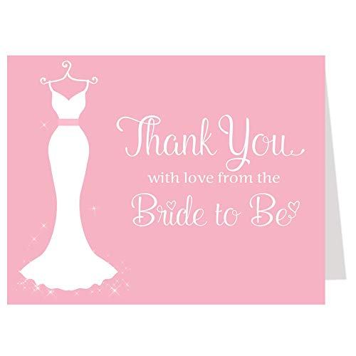 - Bridal Shower Thank You Cards, Wedding Dress, Wedding Shower, Pink, Gray, from the Bride to Be, Future Mrs., Soon to Be, Elegant Gown, Set of 50 Thank You Notes with Envelopes, Gray with Pink