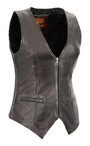 Lambskin Zippered - Milwaukee Leather Women's Premium Lamb Skin Zippered Vest (Black, X-Large)