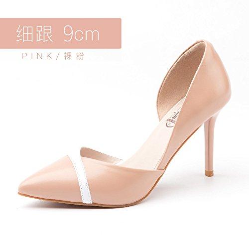 Tacón Zapatos Jqdyl 9cm Zapatos Zapatos con Alto Finos Femeninos únicos Tacones Powder Boda Acentuados de de Nuevos Zapatos TUnIUr