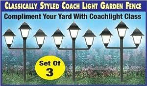 Glow-in-the-Dark Coach Light Garden Fence - Set of 3