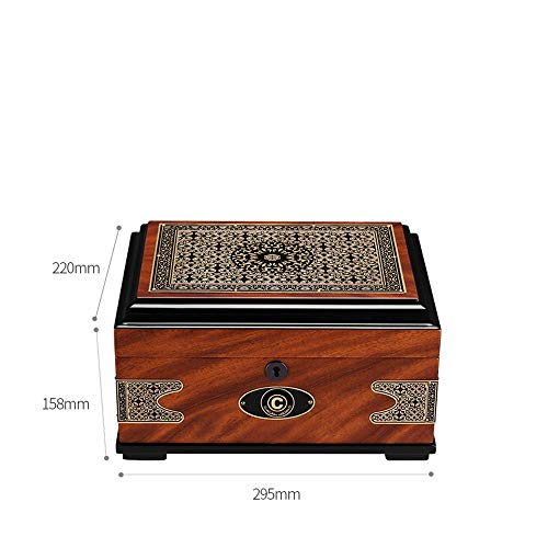 Jian E - (cigar box) - Cigar moisturizing alcoholized Box European Retro Printing Cedar Solid Wood Large Capacity by Jian E - (cigar box) (Image #1)
