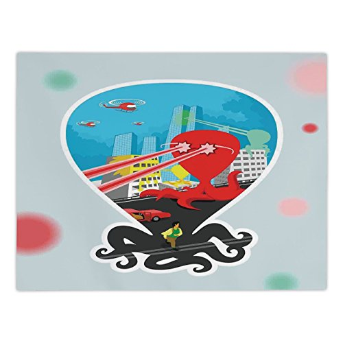 Polyester Rectangular Tablecloth,Octopus Decor,Monster Octopus with Giant Tentacles Attack City Retro Style Cartoon Art Illustration Decor,Multi,Dining Room Kitchen Picnic Table Cloth Cover,for Outdoo -