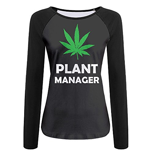 Marijuana Weed Pot Plant Manager Women's Crew Neck Long Sleeve Raglan T-Shirts S