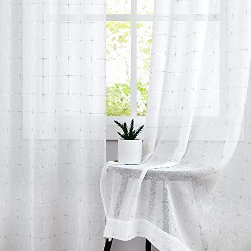 Central Park White Semi Sheer Curtain Gray GEO Cross Embroidery Panels Linen Texture Rod Pocket Window Treatment Drape Set