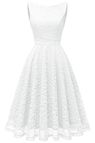 Bbonlinedress Women's Short Floral Lace Bridesmaid Dress V-Back Sleeveless Formal Cocktail Party Dress White 3XL
