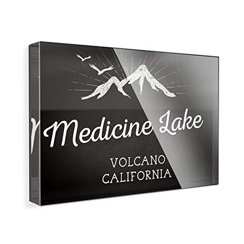 - Acrylic Fridge Magnet Mountains chalkboard Medicine Lake Volcano - California NEONBLOND