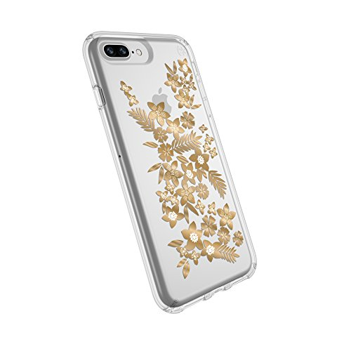 Speck Products Presidio Clear + Print Case for iPhone 8 Plus (Also fits 7 Plus and 6S/6 Plus), Shimmer Floral Metallic Yellow/Clear