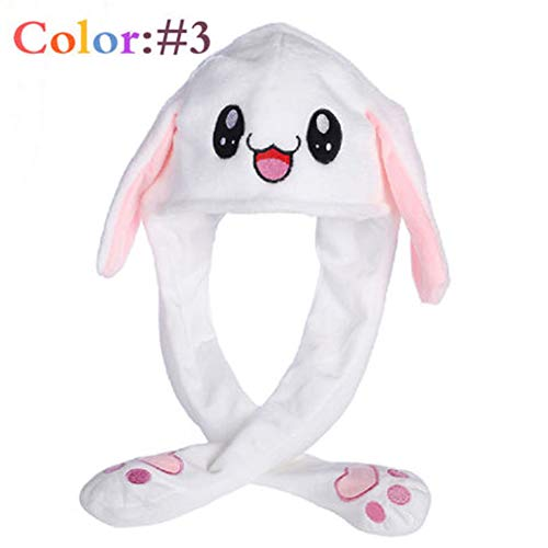 Heartell Cute Rabbit Hat Ear Moving, Pinch Will Move/Vocalization/Luminous, Funny Plush Warm Hat (#3)