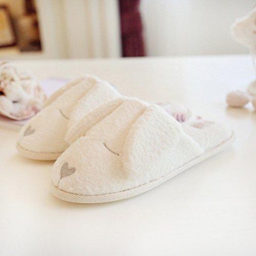 Fortuning's JDS Unisex adulti coppia accogliente vello Casa Calzature bianco bello grosso cane orecchio comodo pantofole