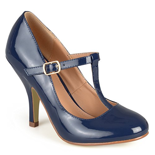 Journee Collection Womens T-Strap Patent Pumps Navy, 8.5 Regular US Navy Blue Leather Pumps