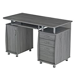 Features:                Finish: Grey         Material: 100% MDF Construction         Two storage drawers and one hanging file cabinet         Side CPU/Storage cabinet with a removable shelf that can placed up, down or removed.        ...