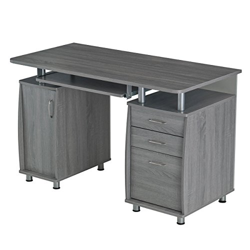 Techni Mobili Small Computer Desk in Gray (Drawer With Desk Computer)