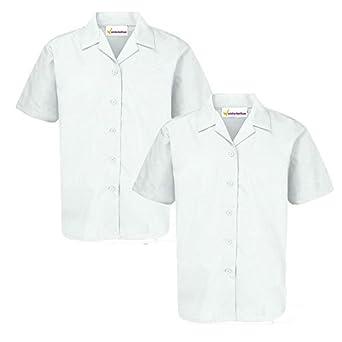 f6206ae6dc023f WINTERBOTTOM Twin Pack Girls Revere Short Sleeve School Blouse White White