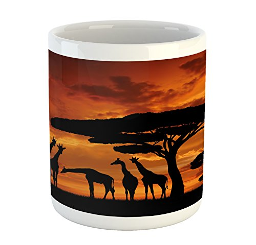Africa Mug - Lunarable Africa Mug, Safari Animal with Giraffe Crew with Majestic Tree at Sunrise in Kenya, Printed Ceramic Coffee Mug Water Tea Drinks Cup, Burnt Orange and Black