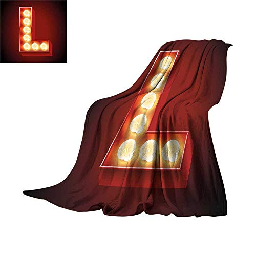 Letter L,Warm Blanket Vintage Nightclub Disco Old Times Typography Entertainment Party Theme Super Soft Cozy Throws W62 x L60 -