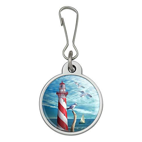 Lighthouse Seashore Ocean Beach Seagulls Sailboat Jacket Handbag Purse Luggage Backpack Zipper Pull ()