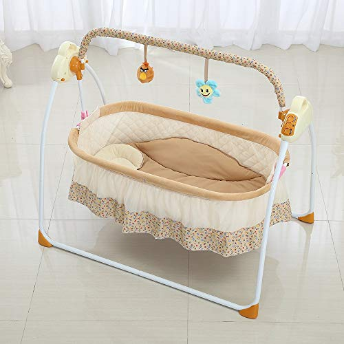 Sookg Electric Baby Bassinet Cradle Swing Rocking Music Remoter Control Sleeping Basket Bed Crib for Newborn Infant Camel You Will Love it (Color : -