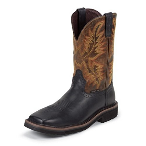 Justin Mens Black Oiled Leather Work Boots 11in Stampede Com