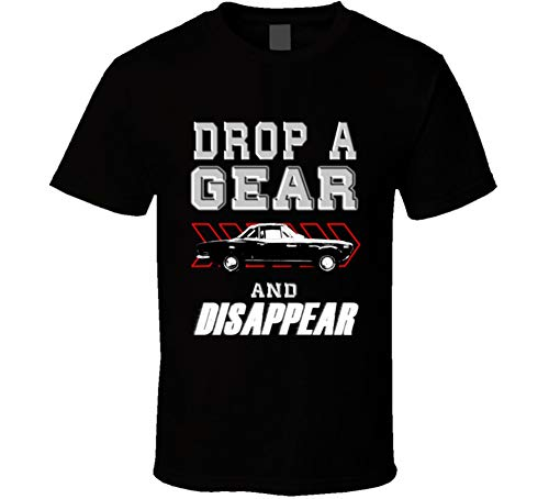 - 1972 Fiat 124 Abarth Rally Drop a Gear and Disappear Car Enthusiasts T Shirt L Black