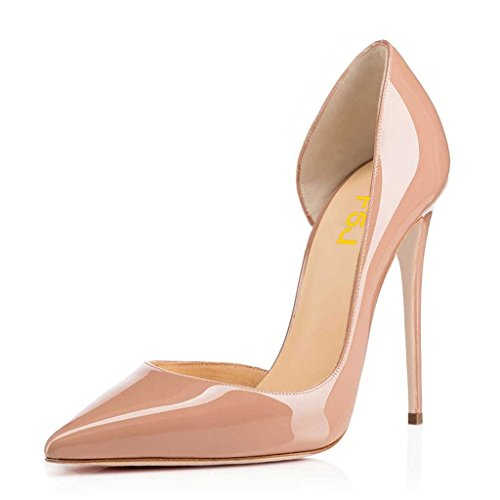 FSJ Women Formal Dress Shoes Pointed Toe DOrsay High Heels Sexy Stiletto Pumps Size 4-15 US Nude WeiwkETSBl