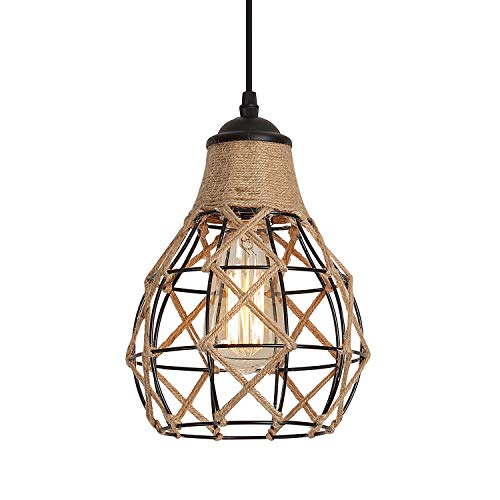 Rustic Industrial Woven Pendant Light, One-Light Adjustable Metal Hemp Rope Mini Pendant Lighting Fixture for Kitchen…