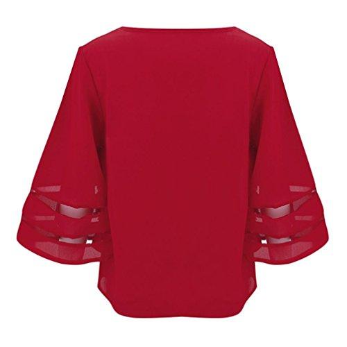 Gro Kleidung Sommer Gre T Adeshop Tops Sweatshirt Elegante Reine Frauen Kurzarm Neue Rot V ausschnitt Mode Bluse Farbe Leine Stil shirt e Strand Pullover 0wO8XPkn