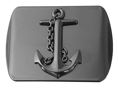 "LFPartS Navy Ship Anchor 3D Black Emblem Metal Trailer Hitch Cover Fits 2"" Receivers (Black Square)"