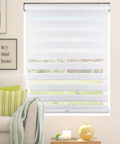Calyx Interiors A04ZLA304600 Cordless Zebra Roller Shades, 30.5-Inch Width x 60-Inch Height, White