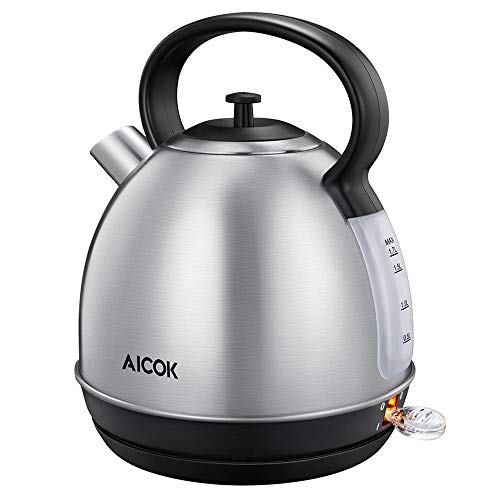 Aicok Electric Tea Kettle, 1.7-Liter Brushed Stainless Steel Kettle with Anti-oxidant Coating, Retro Style with Modern Feature Water Kettle, Auto Shut Off, 1500W