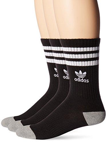adidas Originals Kids - Boys/Girls Roller Crew Socks (3-Pair), Black/White, Large