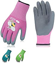 Vgo 3Pairs Age 3-9 Kids' Gardening Gloves, Foam Rubber Coated, Working and Playing Gloves(3 Colors, KID-RB