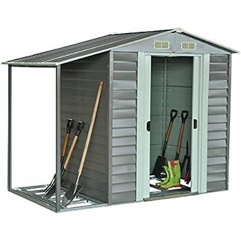 outsunny 85 x 5 metal outdoor garden storage shed w firewood storage graywhite