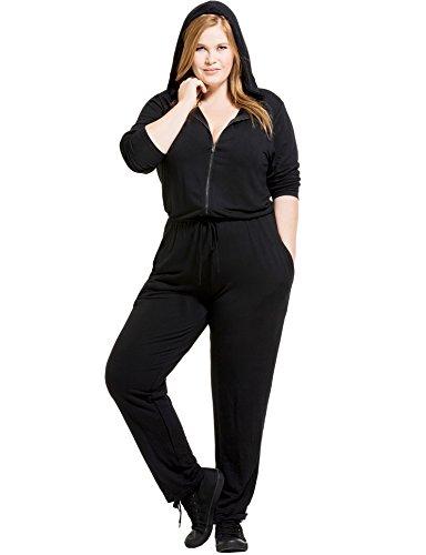 KARI LYN Women's Plus Size Aurora French Terry Jumpsuit (0X, Black) (Terry Jumpsuit)